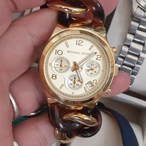 Micheal Kors turtle shell gold tone watch